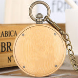 Wood Open Face Quartz Pocket Watch - Wooden Heart - Pocket Watch Net