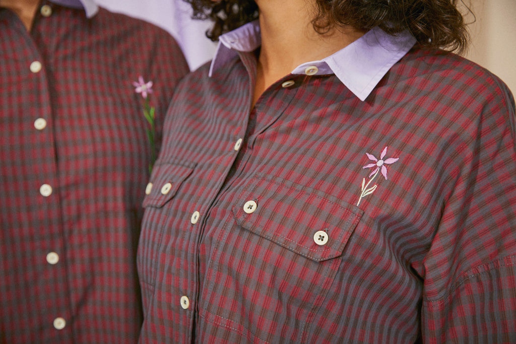 Saywood Jules Utility Shirt in red check, close up showing pocket and flower emboirdery
