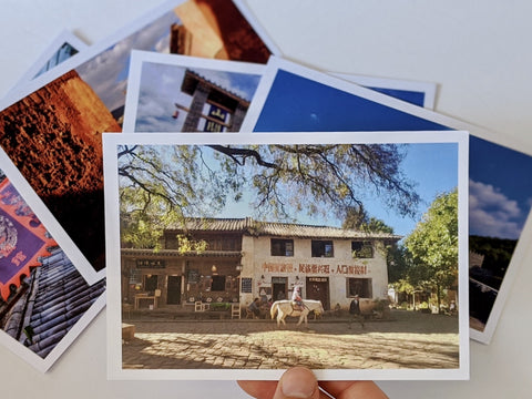 Postcards showing photos from the Ancient Tea Horse Road in Yunnan, China. Yuyun Tea talks to Saywood.