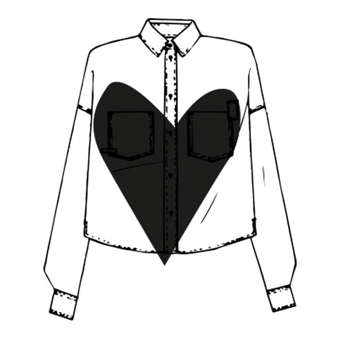 Ethically Made Women's Shirts - Shirt sketch with large heart in centre, in black and white