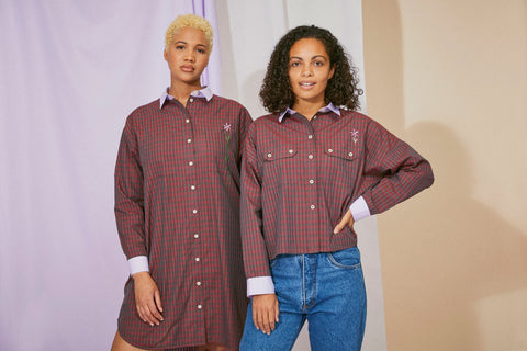 Saywood Check Shirt and Shirtdress made from Deadstock Fabric from Riopele Fabric Mill