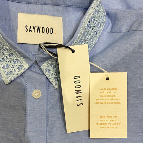 Saywood Edi Volume Sleeve Shirt in recycled cotton, pale blue, with recycled cotton tags.