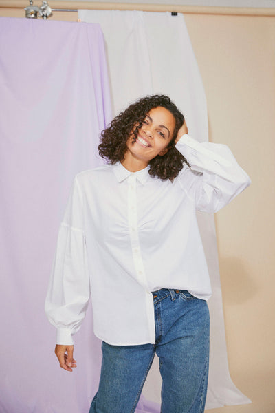 Women's Shirt, Saywood Studio, Edi Volume Sleeve Shirt, White