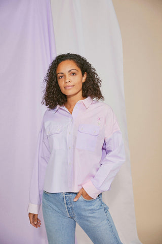 Women's Shirt, Jules Cotton Utility Shirt, Pink/Lilac