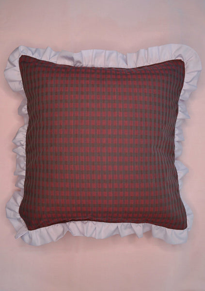 Cushion, Saywood Studio, Ruffle Edge Cushion, Red/Lilac