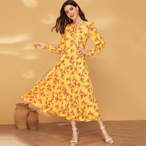 Lia Dress Allover Floral Knot Front Ruffle Hem