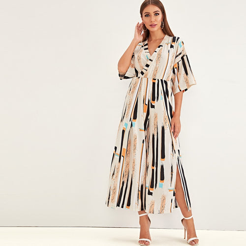 Striped Surplice Front Split Side Wide Leg