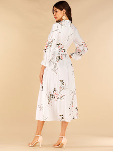 Floral Print Pleated Belted Dress