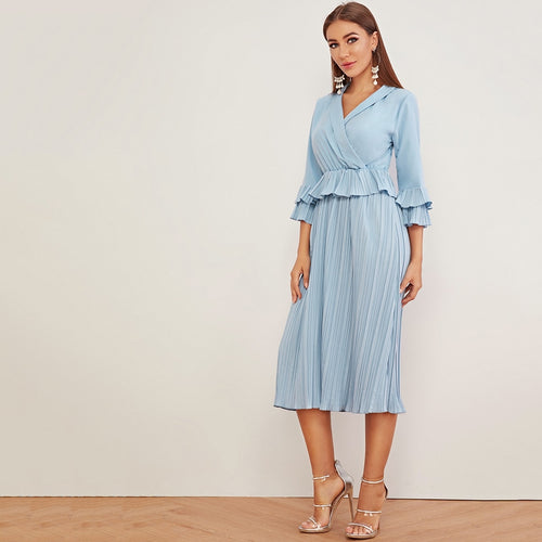 Kate Dress Ruffle Trim Flounce Sleeve Pleated