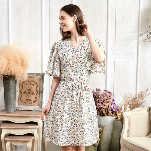 Lee Dress Flutter Sleeve V-Neck Floral Dress