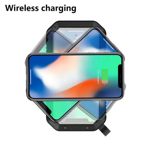 Image of Portable 10,000mAH Solar Power Bank With QI Wireless Charger LED Flashlight and Three USB Chargers