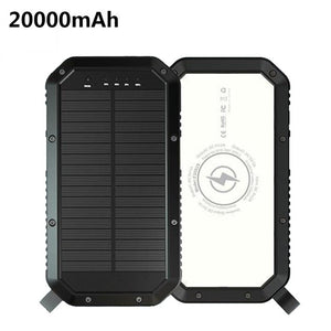 Portable 10,000mAH Solar Power Bank With QI Wireless Charger LED Flashlight and Three USB Chargers