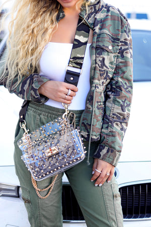Load image into Gallery viewer, metallic camo strap - be clear handbags