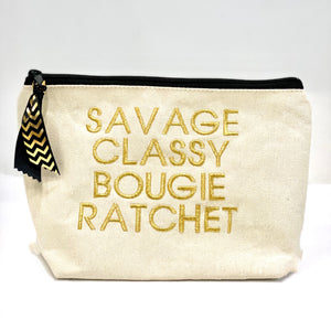 savage classy bougie ratchet peek-a-boo pouch - be clear handbags