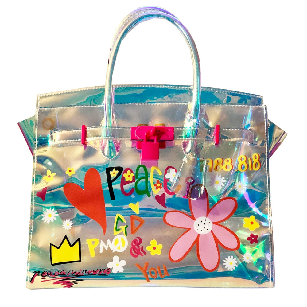 Load image into Gallery viewer, the peace + love graffiti tote - be clear handbags