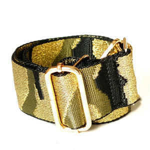 metallic camo strap - be clear handbags
