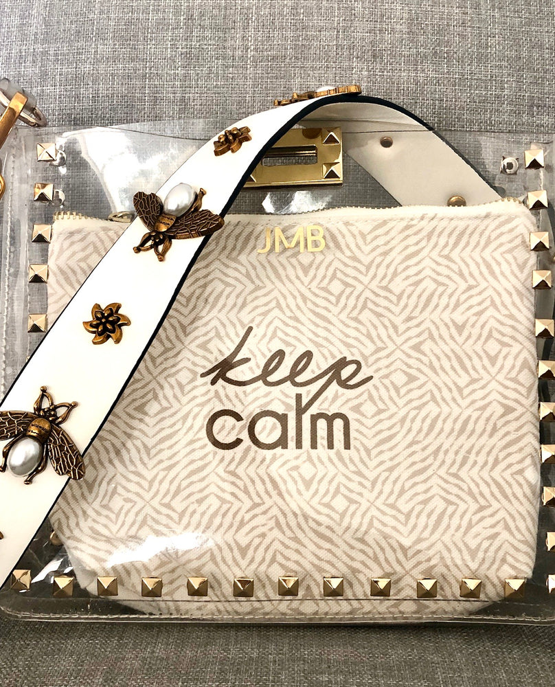 Load image into Gallery viewer, keep calm pouch - be clear handbags