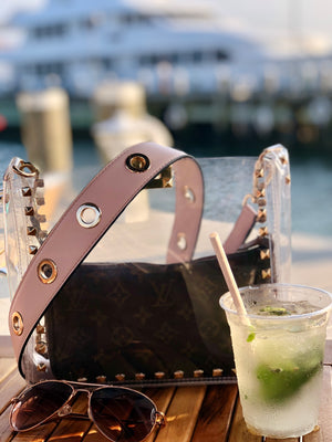 grommet strap - be clear handbags