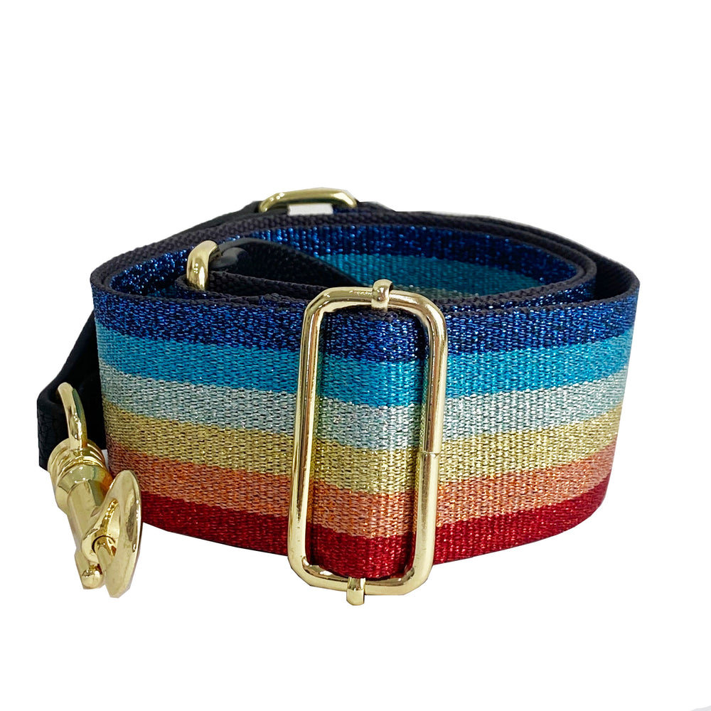 rainbow shimmer strap - be clear handbags