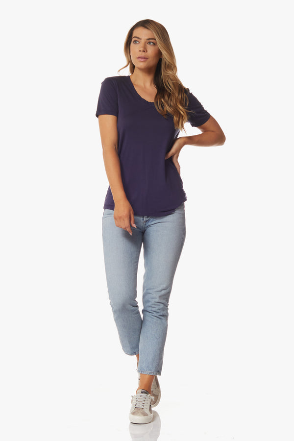Angeleno Tee, Navy - With Love, MILA