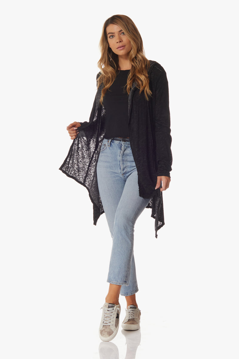 Lala Long Sleeve Cardigan, Black - With Love, MILA