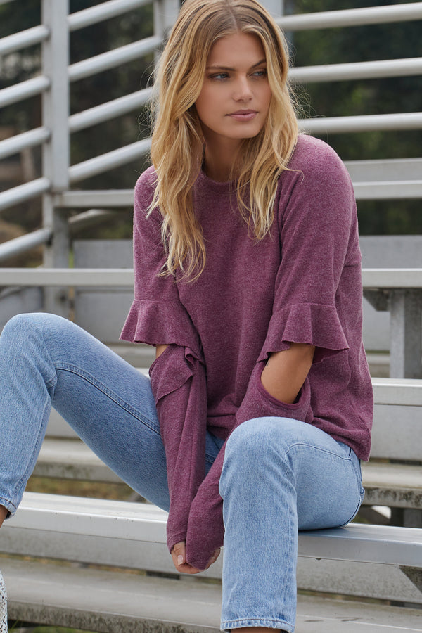 Alyssa Sweatshirt, Maroon - With Love, MILA