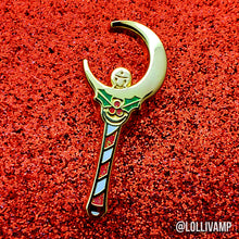 Load image into Gallery viewer, Holiday Moon Stick (Enamel Pin)