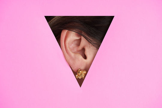 Statment stud earrings in gold, perfect for video call and facemask wearing