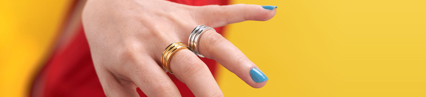 Contemporary jewellery for modern woman. Limited collection available from Irish designer - rings in both silver and gold to complement any outfit for day or night. Chunky, modern and handmade.