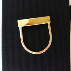 multi metal bespoke ring in silver and gold contemporary design