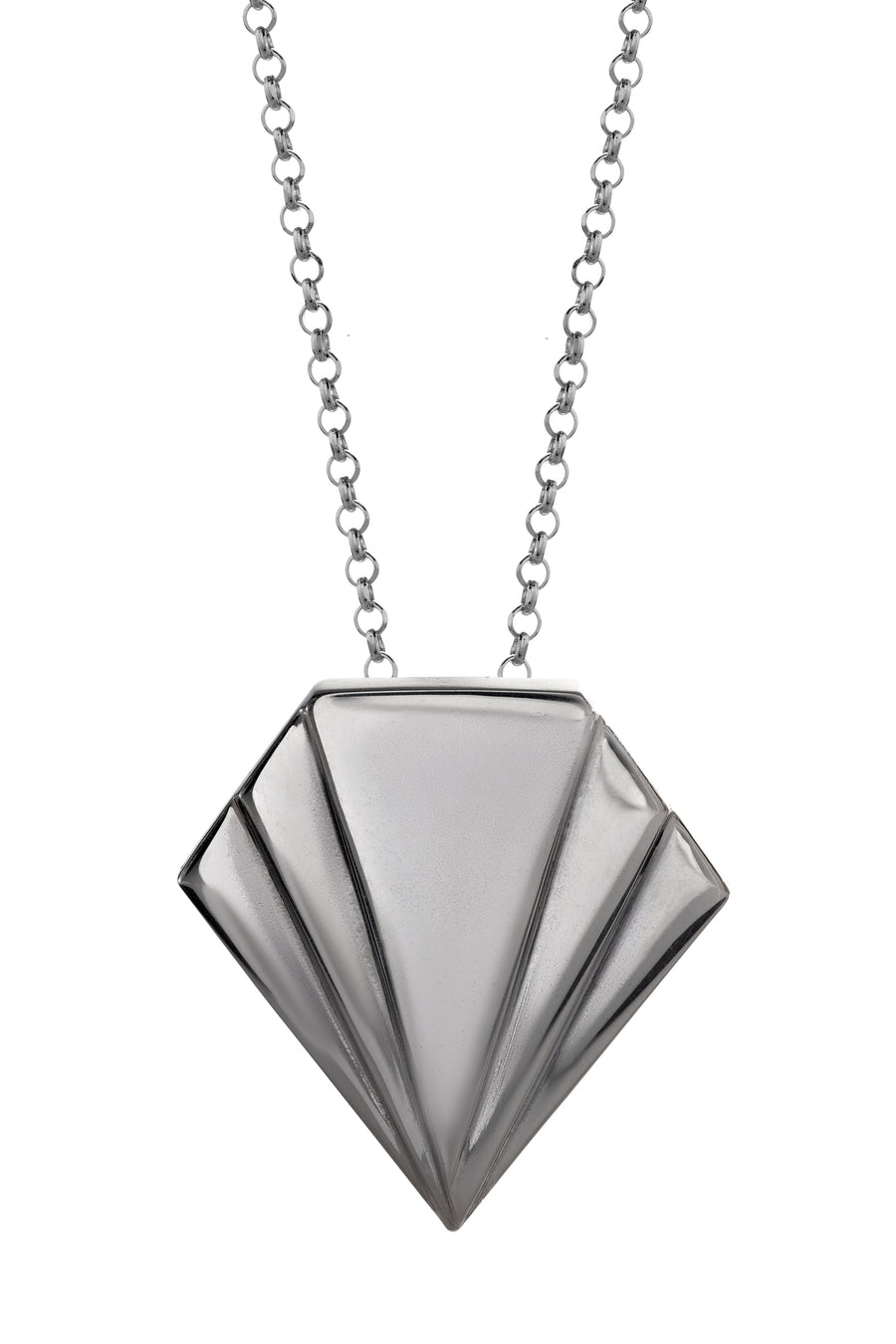 Silver art deco style pendant, merging at the base. Chunky statement pendant piece, hallmarked sterling silver.