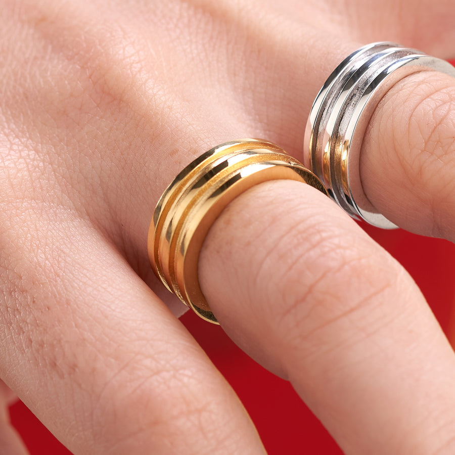 Concentric Circles Ring-These are as close to 'handmade to perfection' as you can get. The concentric circles reflect the concept of following your own path. A slick and minimalist design, they complement daytime and evening outfits with a bold statement of contemporary style design. Available in sterling silver, dipped gold or 9ct 18 ct gold. As the market price of gold varies, please DM for today's price with no obligation to purchase.-Vanessa Ree