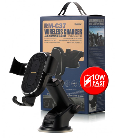 Remax wireless charger 10W and suction Mount RM-C37 Black