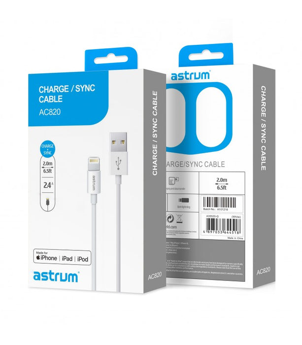LIGHTNING CHARGE / Sync Cable for Apple, 8pin male - usb male, MFI Certified, 2.0Meter, Glossy White