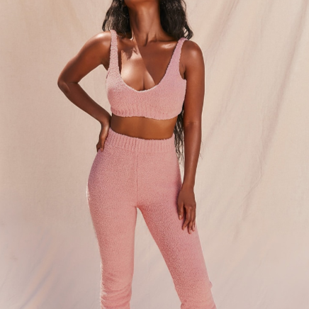 Fluffy Jogger Set in Blush