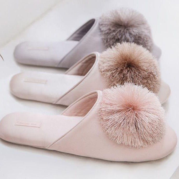 Pompom Polly Satin Slippers