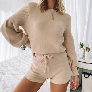 Lantern Knitted Short Set in Nudes