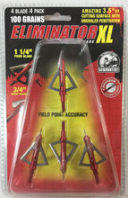 Load image into Gallery viewer, 100 grain ELIMINATOR XL Fixed Blade Broadhead (4 pack)