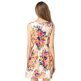 Summer vest dress Printed skirt Sleeveless floral chiffon dress
