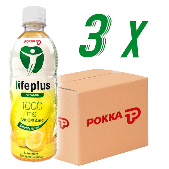 3x Cartons de POKKA Lifeplus CITRON 50cl
