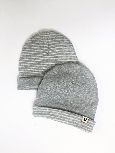 Vingerhoet Reversible Slouch Baby Hat, Color: Stripes and Gray