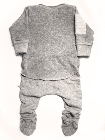 Baby Ready Romper-Grey L/S Footed
