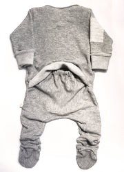 Ready Romper—Grey, Long Sleeve, Footed
