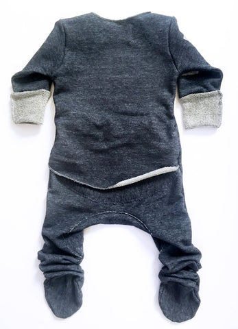 Baby Ready Romper-Navy L/S Footed
