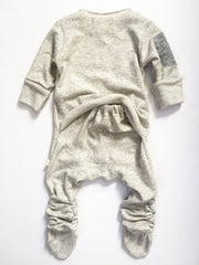 Vingerhoet Baby Ready Romper Gift Onesie Long sleeve, Footed, Tan, Back View