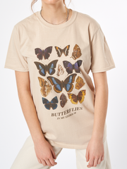 Butterflies Oversized T-shirt in Beige