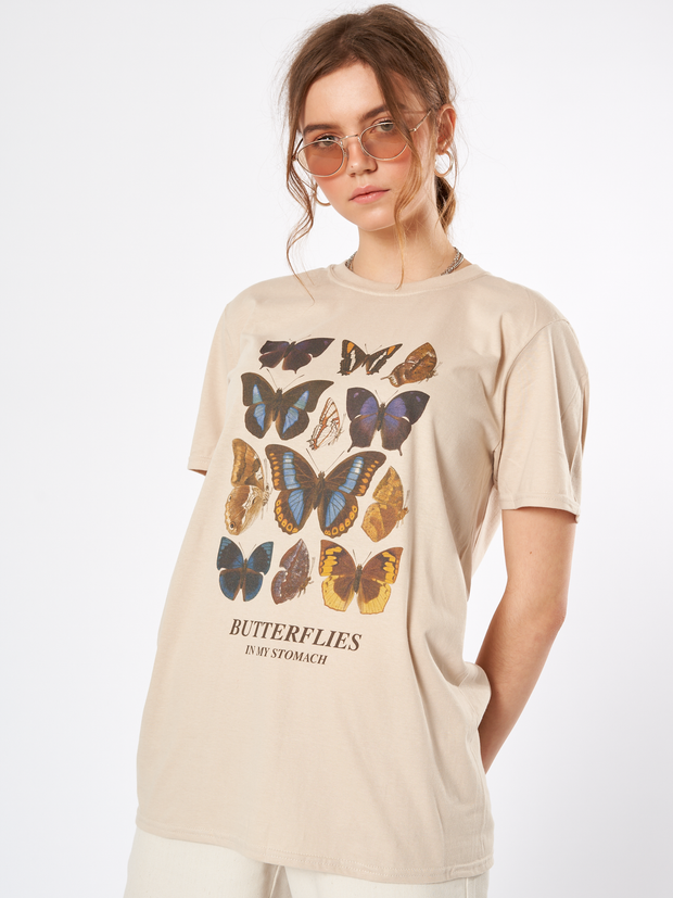 Butterflies In My Stomach Oversized T-shirt in Beige