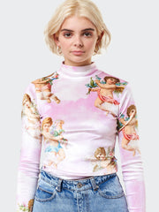 Angel Heaven Velvet Top In Pink - Minga London