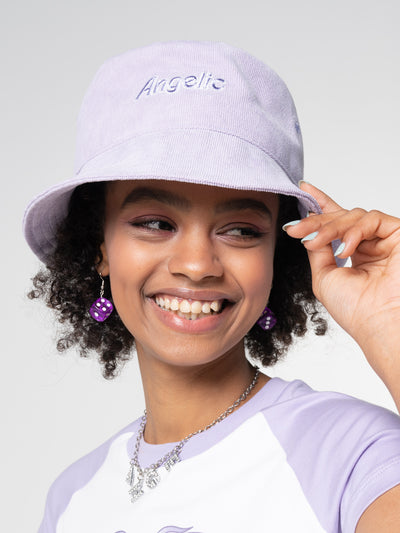 Angelic Corduroy Bucket Hat in Lilac - Minga London