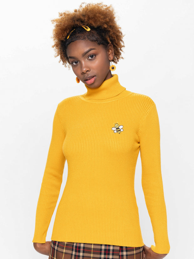 Bumble Bee High Neck Knitted Top
